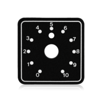 "2"" X 2"" POLYCARBONATE DIAL SCALE. 3/8"" CENTER HOLE"