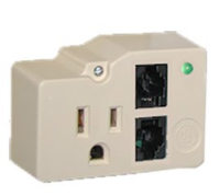 1 PAIR, 130V,  RJ11 IN/OUT MODULAR JACK (W/PATCH CORD) AND 120VAC POWER PROTECTION,