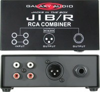 "JIB/R RCA COMBINER - SUMS TWO STEREO RCA (CD OR TAPE PLAYERS) INTO ONE MONO XLR OR 1/4"" OUTPUT"