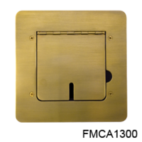 FLOOR BOX, SOLID BRASS, FLAT TRIM, CABLE SLOTS
